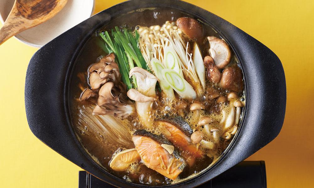 鮭とキノコのカレー鍋