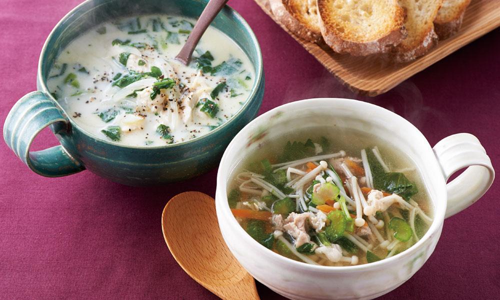 セロリと豚肉のアジアンスープ チキン&オニオンスープ