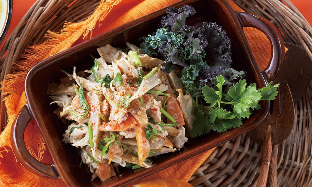 鶏とゴボウの簡単サラダ